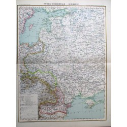Carte de la Russie occidentale et de la Roumanie