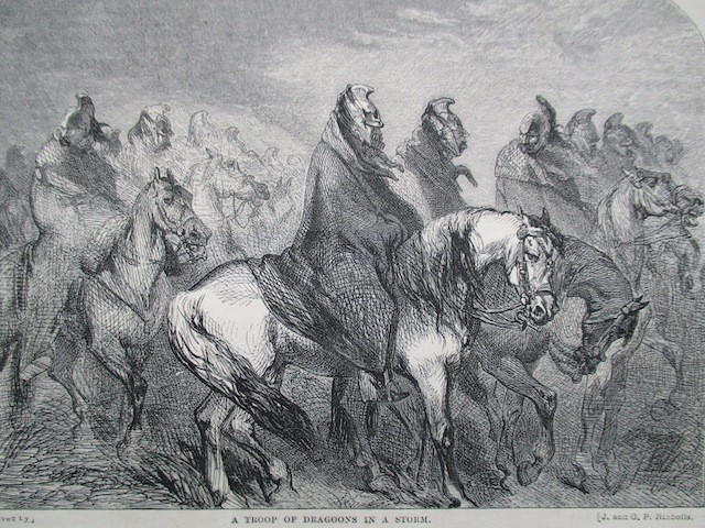 A troop of dragoons in the storm